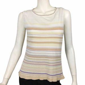 Vintage Evan Picone Sleeveless Top Stripe Cutout